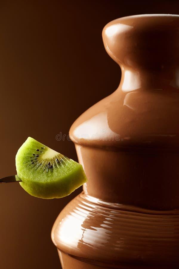 Kiwifruit pronto para mergulhar em um fondue de chocolate fotografia de stock royalty free