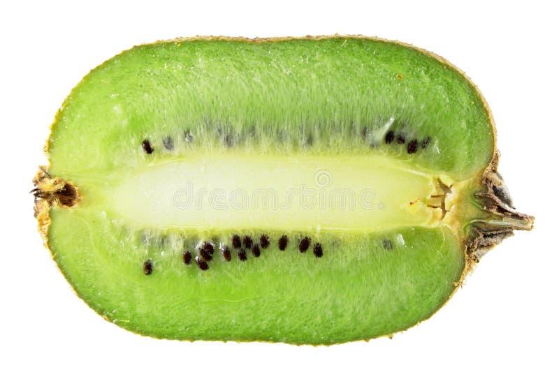 Kiwifruitbesnoeiing in longitudinale geïsoleerde sectie over wit stock foto's