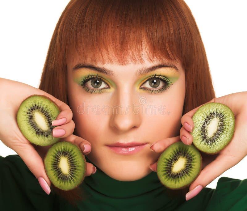 kiwikvinna royaltyfri fotografi