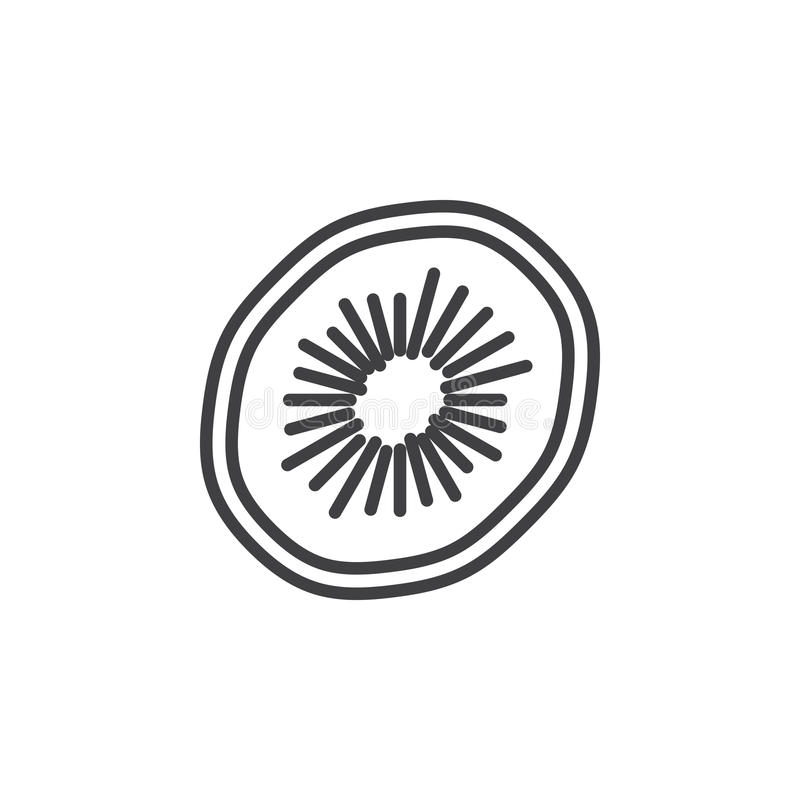 Kiwilinje symbol, översiktsvektortecken, linjär pictogram som isoleras på vit stock illustrationer