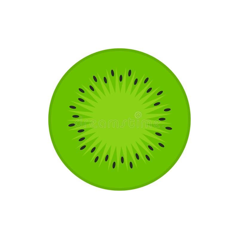 Kiwis, kiwi ou icône plate à moitié en coupe chinoise de vecteur de couleur de groseille à maquereau pour des apps et des sites W illustration stock