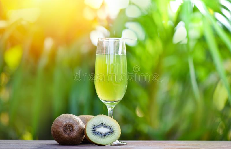 Kiwisap in glas en plakkiwifruit met achtergrond van de aard de groene zomer royalty-vrije stock fotografie