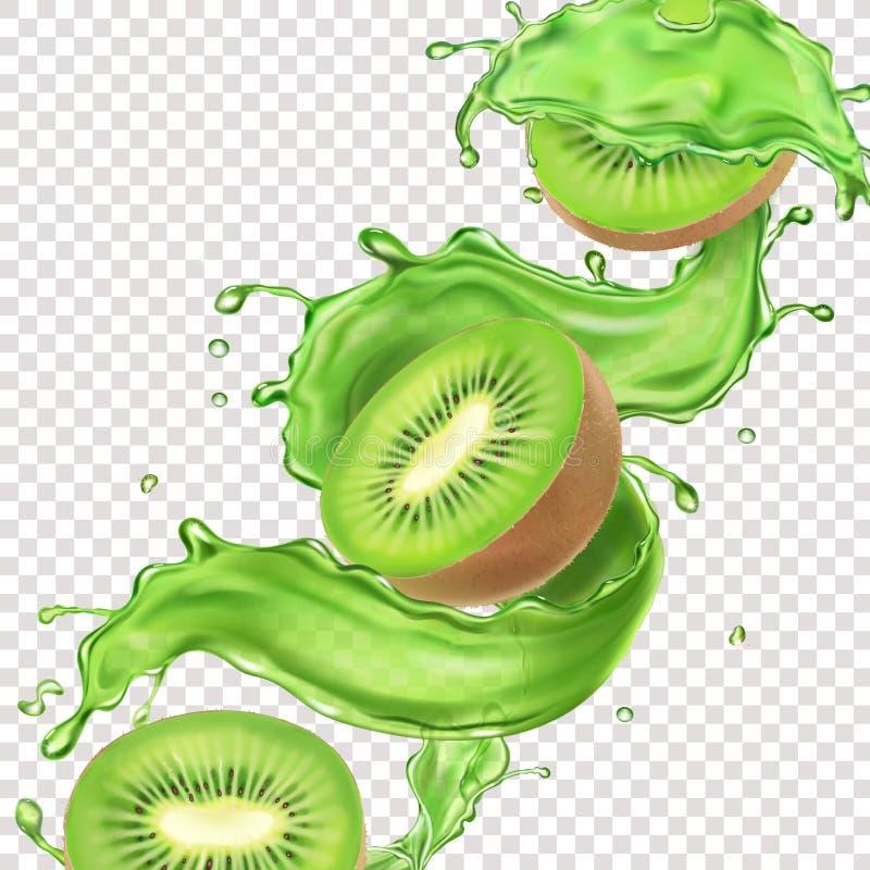 Kiwivruchten in de stroom van de sapplons Het sappige ontwerp van het productpakket royalty-vrije illustratie