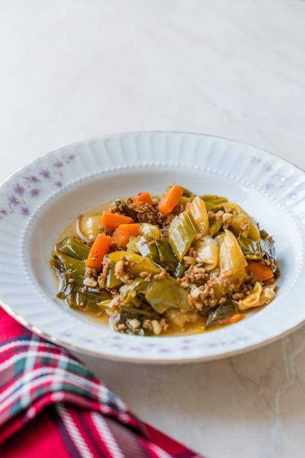 Турецкий лук-порей еды с семенить мясом/Kiymali Pirasa стоковые фото
