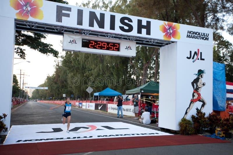 Kiyoko Shimahara na maratona 2009 de Honolulu imagens de stock royalty free