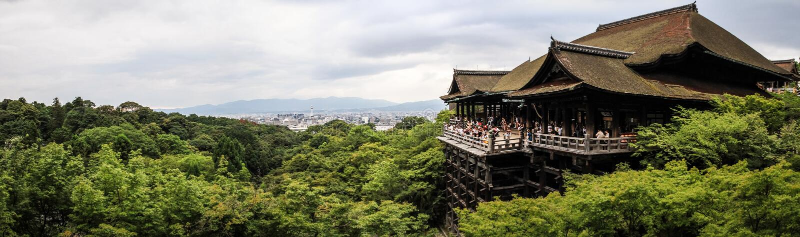 Kiyomizu-Derapanorama, officieel otowa-San kiyomizu-Dera, Higashiyama -higashiyama-ku, Kyoto, kansai, Japan stock afbeeldingen