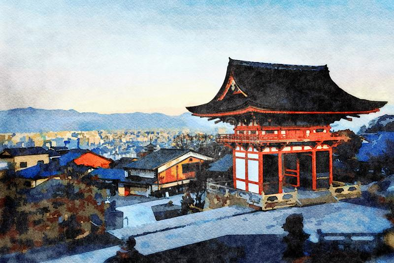 Kiyomizu-deratempel, Higashiyama, Kyoto, Japan stock abbildung