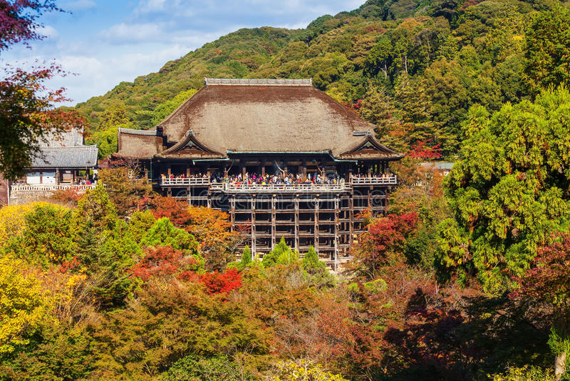 Kiyomizu-Deratempel in Kyot stock afbeelding