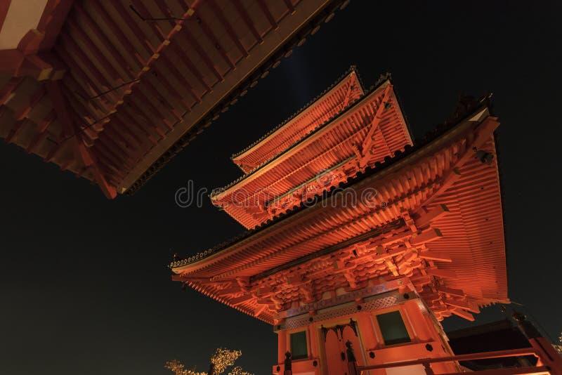 Kiyomizu Temple with tall pagoda tower in Kyoto Japan. Kiyomizu-dera is UNESCO World Heritage listed. stock image