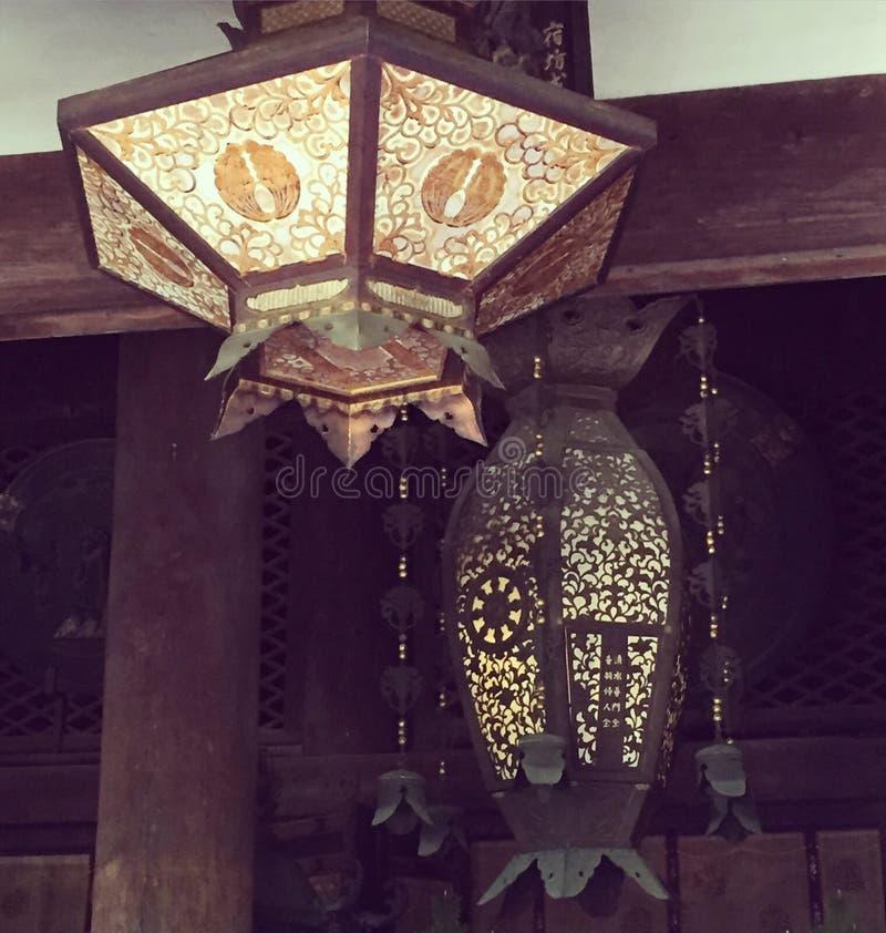 Kiyomizudera tempellyktor royaltyfri bild