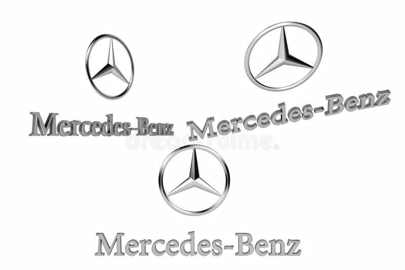 Kiyv Ukraina, Luty, - 05, 2019: Logo samochodowy Mercedez Benz ilustracji