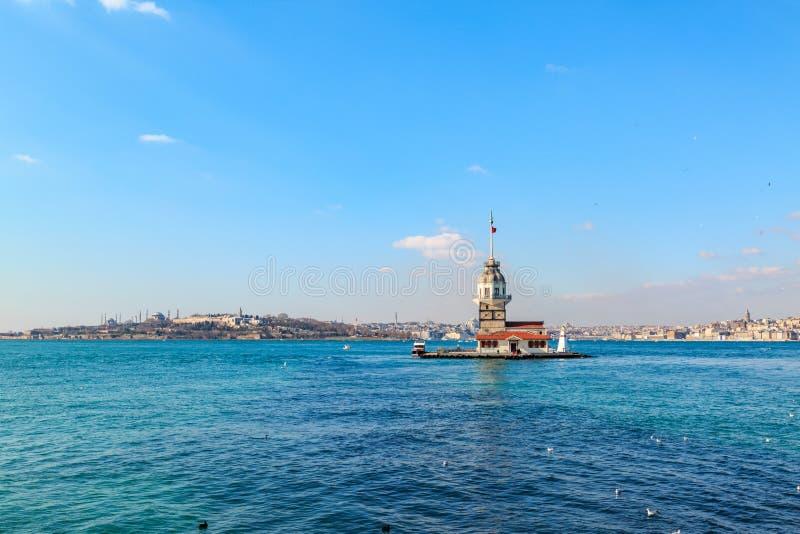 Kiz kulesi Maiden`s tower in bosphorus from asian side of Istanbul stock photos