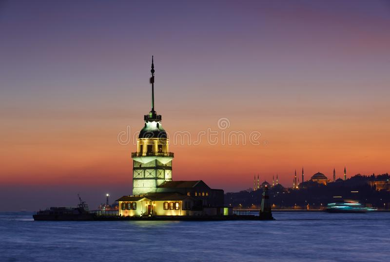 Kiz Kulesi Maiden`s Tower at night in istanbul,Turkey royalty free stock images