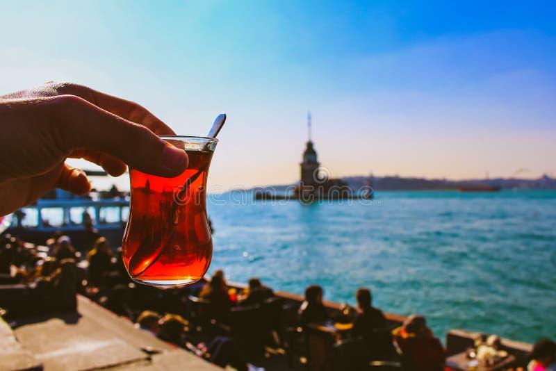 Kiz kulesi (maiden tower) and Turkish tea in Istanbul Turkey stock photos