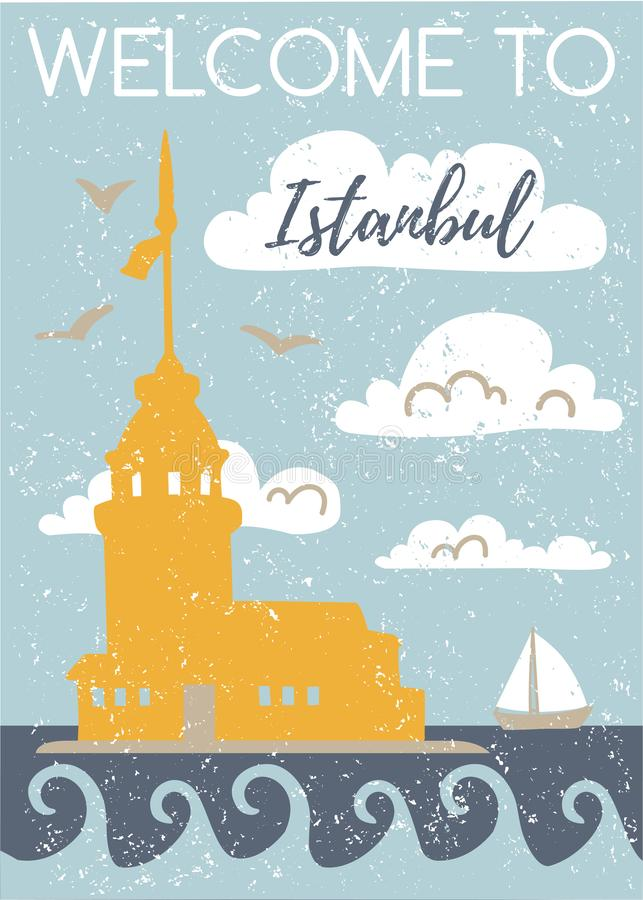 Welcome to Istanbul. Vertical vector illustration with a flat silhouette of the Maiden Tower. Card, poster, flier, print design. T vector illustration