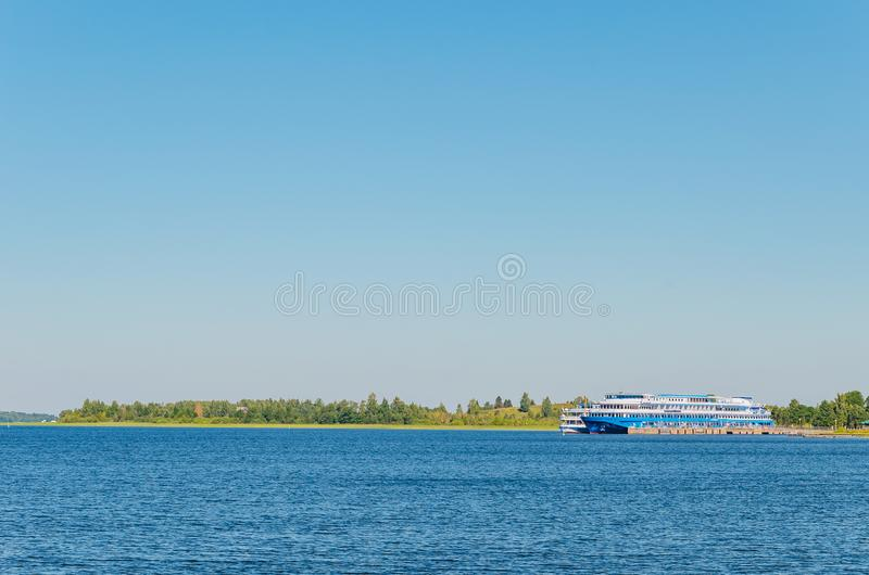Kizhi Island, Russia - 07.19.2018 -: Motor ships at the pier of Kizhi Island. Seascape royalty free stock image