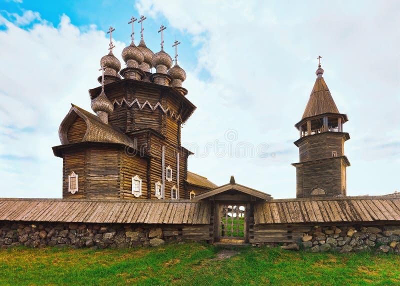 Kizhi Pogost with Transfiguration Church Ladoga Lake in Karelia in Russia stock images