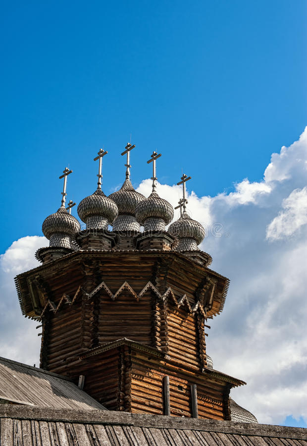 Kizhi Transfiguration Church, a wooden dome royalty free stock image