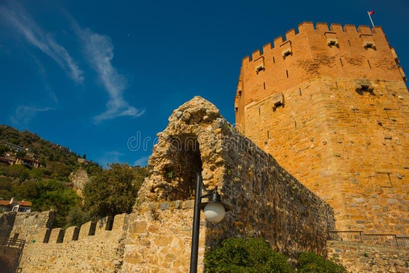 Kizil Kule塔 红色塔是在老城市阿拉尼亚的疆土的一个著名地标 火鸡 图库摄影