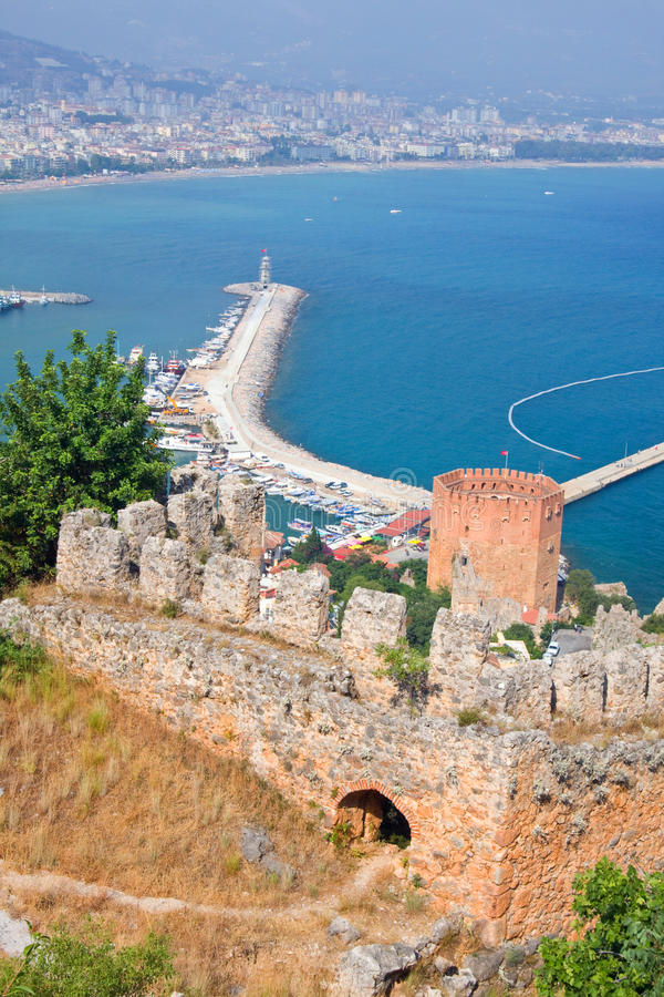 Kizil Kule (Red Tower) in the Turkish city of Alanya. Kizil Kule (Red Tower), tourist attraction in the Turkish city of Alanya stock photography