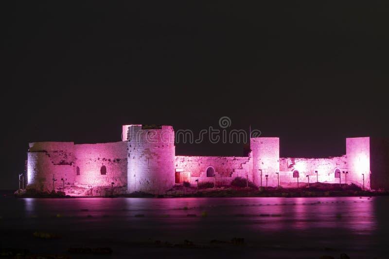 Kizkalesi At Night, Mersin, Turkey stock photography