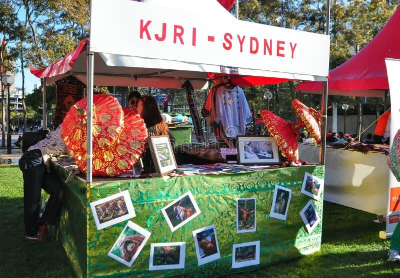 KJRI悉尼陈列摊,是印度尼西亚共和国的总领事馆新南威尔斯的在印度尼西亚节日 免版税图库摄影