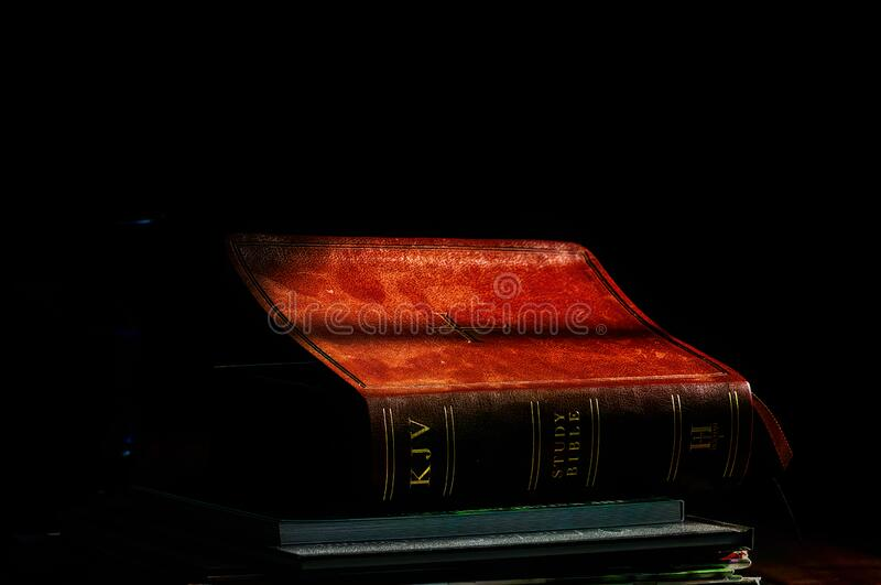 KJV Bible on Coffee Table royalty free stock photography