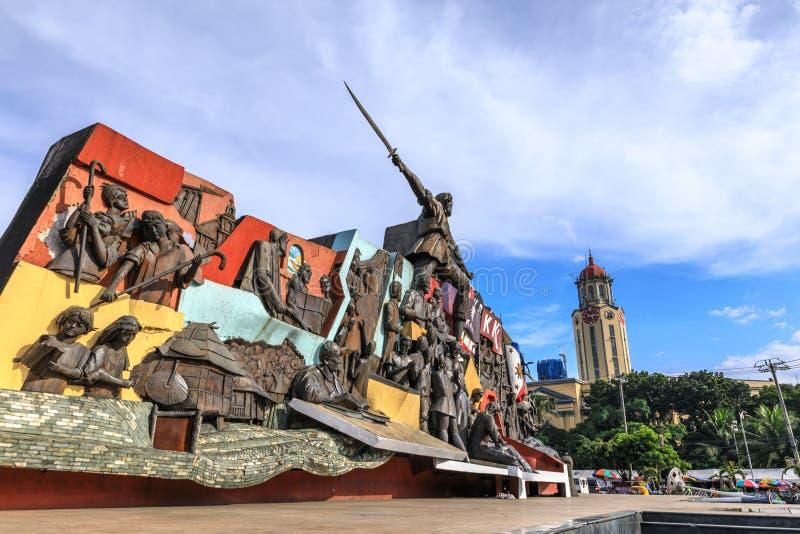 KKK-Monument en het Stadhuis van Manilla stock foto