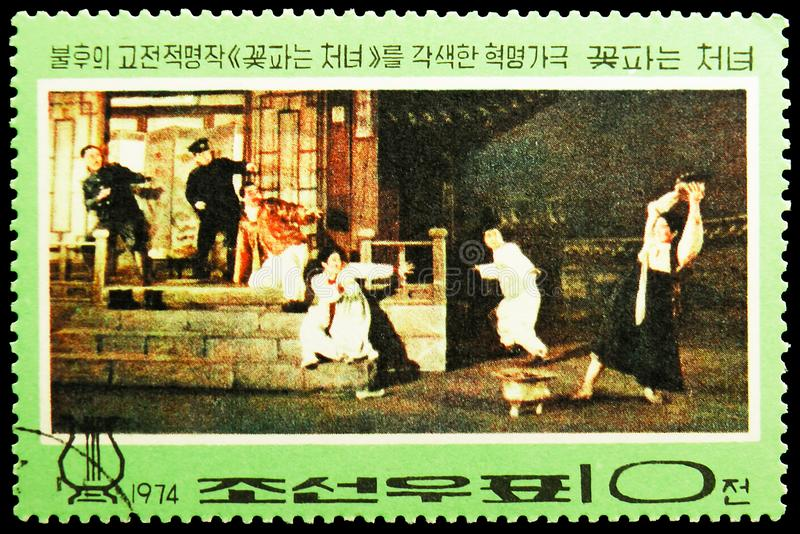 Kkot Pun resists, Revolutionary opera `The Flower Girl` serie, circa 1974. MOSCOW, RUSSIA - MAY 25, 2019: Postage stamp printed in Korea shows Kkot Pun resists royalty free stock images