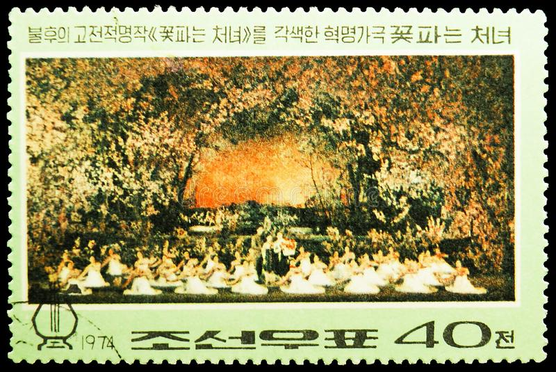 Kkot Pun treading the path of revolution, Revolutionary opera `The Flower Girl` serie, circa 1974. MOSCOW, RUSSIA - MAY 25, 2019: Postage stamp printed in Korea royalty free stock image