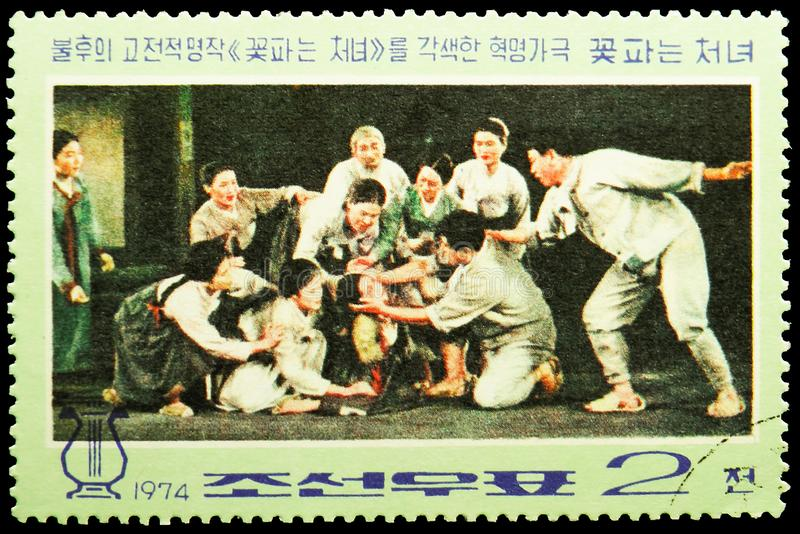 Kkot Puns blind sister, Revolutionary opera `The Flower Girl` serie, circa 1974. MOSCOW, RUSSIA - MAY 25, 2019: Postage stamp printed in Korea shows Kkot Puns royalty free stock photos