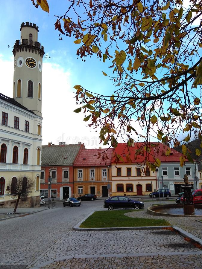 Klášterec nad Ohří, Czech Republic, October 24, 2017 - the central square of the city. In autumn stock photo