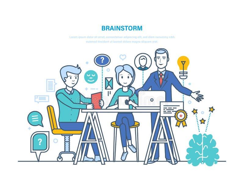 Kläckning av ideer, hjärnutbildning, idérikt tänka och affärsidé royaltyfri illustrationer