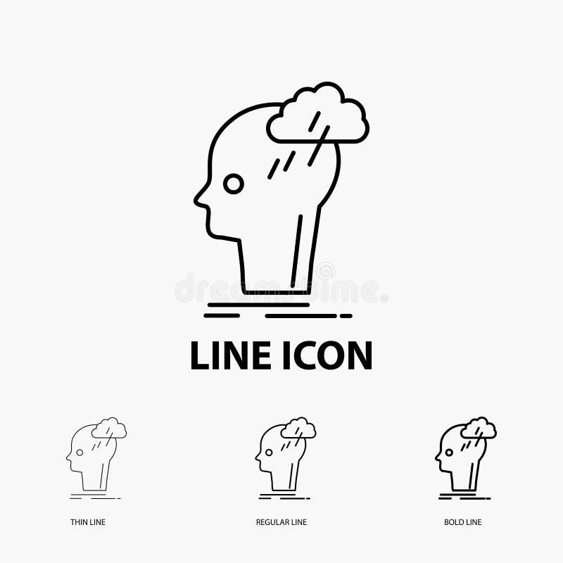 Kläckning av ideer idérikt, huvud, idé, tänkande symbol i tunt, stamgäst och djärv linje stil ocks? vektor f?r coreldrawillustrat stock illustrationer
