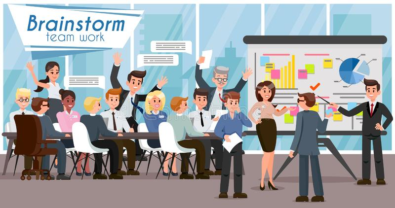 Kläckning av ideer och teamwork Plan illustration för vektor stock illustrationer