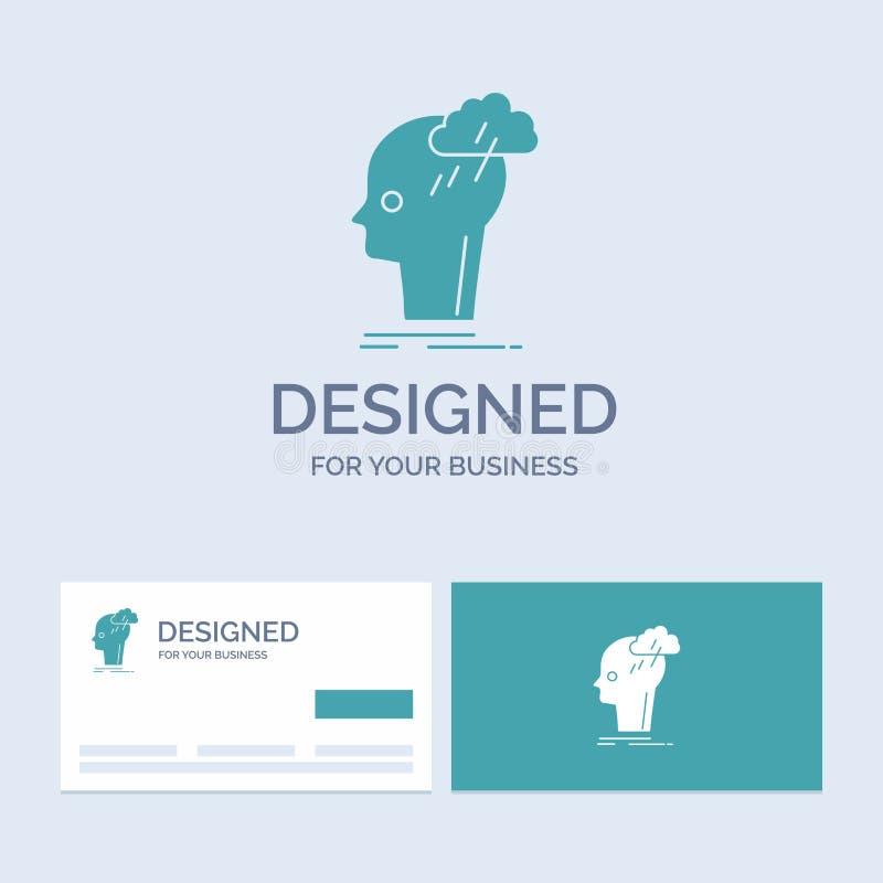 Kläckning av ideer som är idérik, huvud, idé, tänkande affär Logo Glyph Icon Symbol för din affär Turkosaff?rskort med m?rke royaltyfri illustrationer