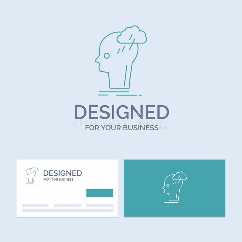 Kläckning av ideer som är idérik, huvud, idé, tänkande affär Logo Line Icon Symbol för din affär Turkosaff?rskort med m?rke vektor illustrationer