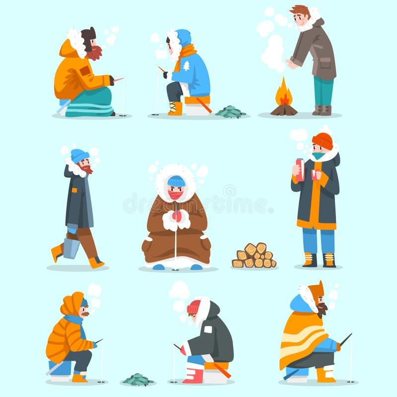 Klädde varmt män som fiskar i en djupfryst flod- eller sjöuppsättning, extremal isvinterfiske, vektor för utomhus- aktivitet royaltyfri illustrationer