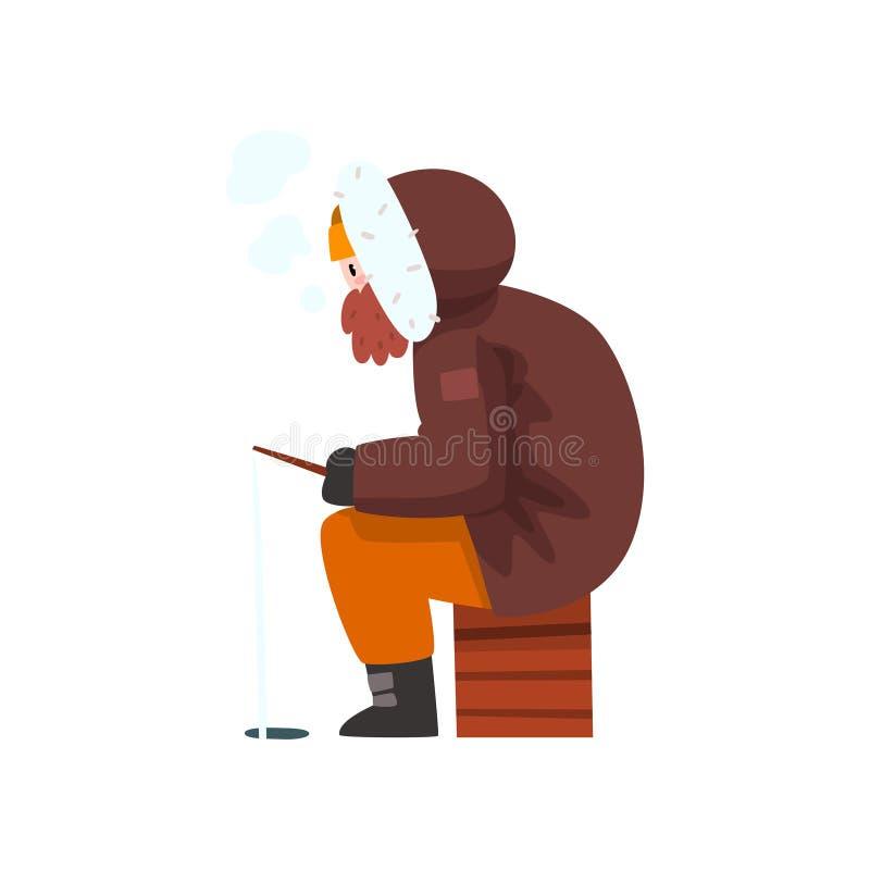 Klädde varmt manfiske i en djupfryst flod, den extremal isvintern som fiskar, illustration för vektor för sidosikt stock illustrationer