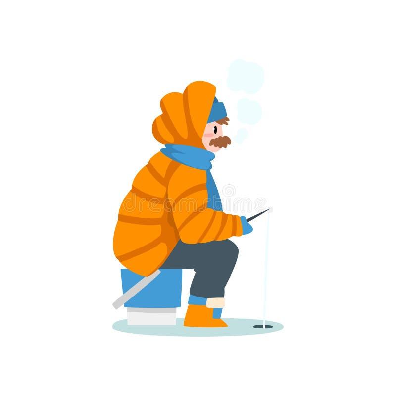 Klädde varmt manfiske i en djupfryst flod eller sjö med metspöet, extremal isvinterfiske, utomhus- aktivitet royaltyfri illustrationer