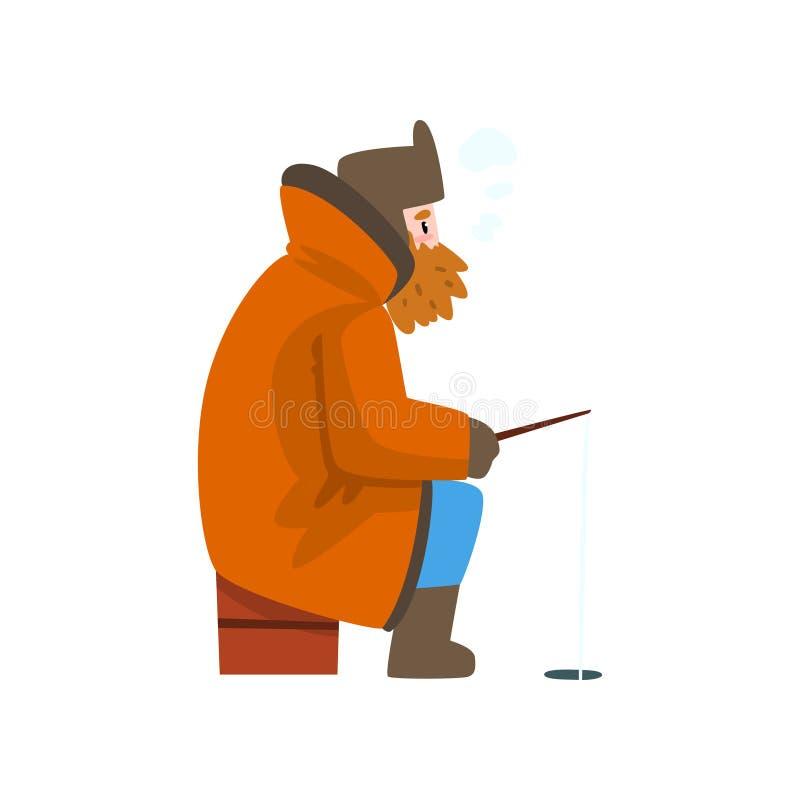 Klädde varmt manfiske i en djupfryst flod med metspöet, den extremal isvintern som fiskar, vektor för sidosikt stock illustrationer