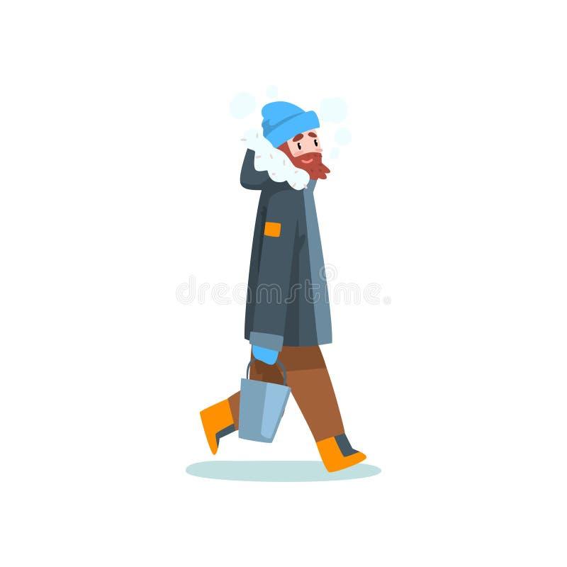Klädde varmt mannen med hinken, utomhus- fritid, extremal isvinter som fiskar vektorillustrationen royaltyfri illustrationer