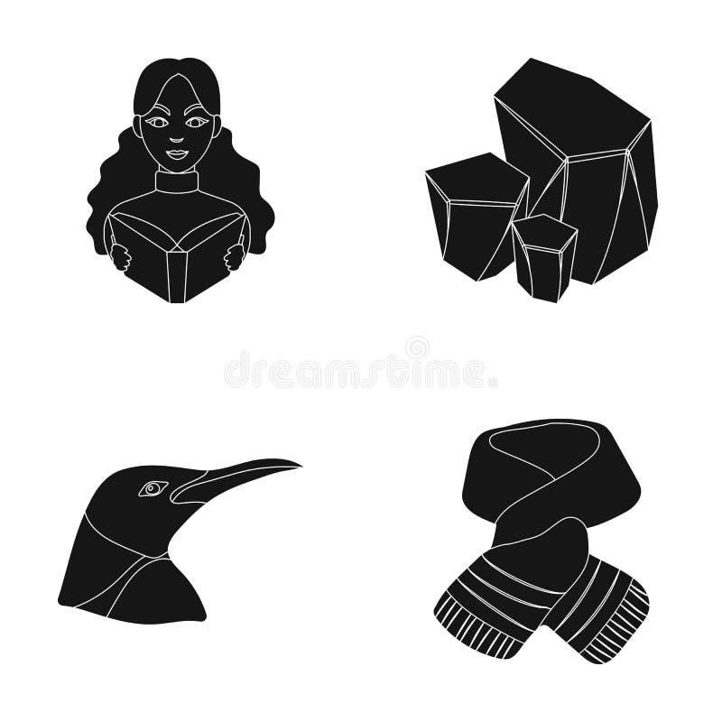 Kläder, djur och eller rengöringsduksymbol i svart stil yrke symboler för kolbransch i uppsättningsamling stock illustrationer