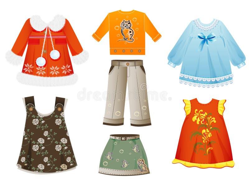 Kläder för flickor vektor illustrationer