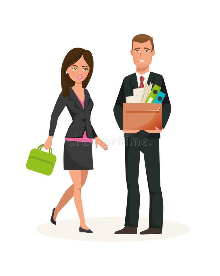 Kläder för kontorsarbetare i regeringsställning, avskedande från arbete, karriärtillväxt stock illustrationer