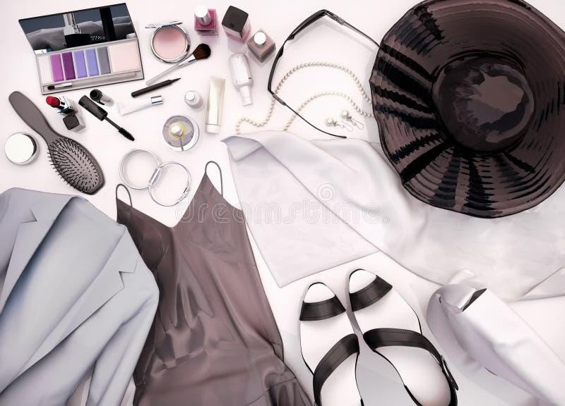Kläder för kvinna` s, hudomsorg och skönhetsmedel lokaliseras på en vit royaltyfri illustrationer