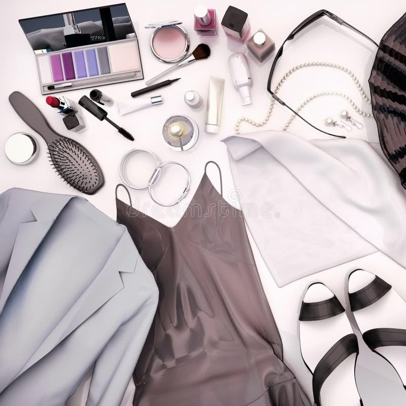 Kläder för kvinna` s, hudomsorg och skönhetsmedel lokaliseras på en vit vektor illustrationer