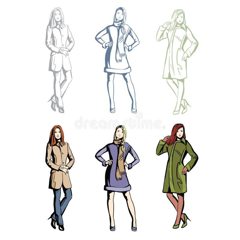 Kläder för modemodeller på våren royaltyfri illustrationer
