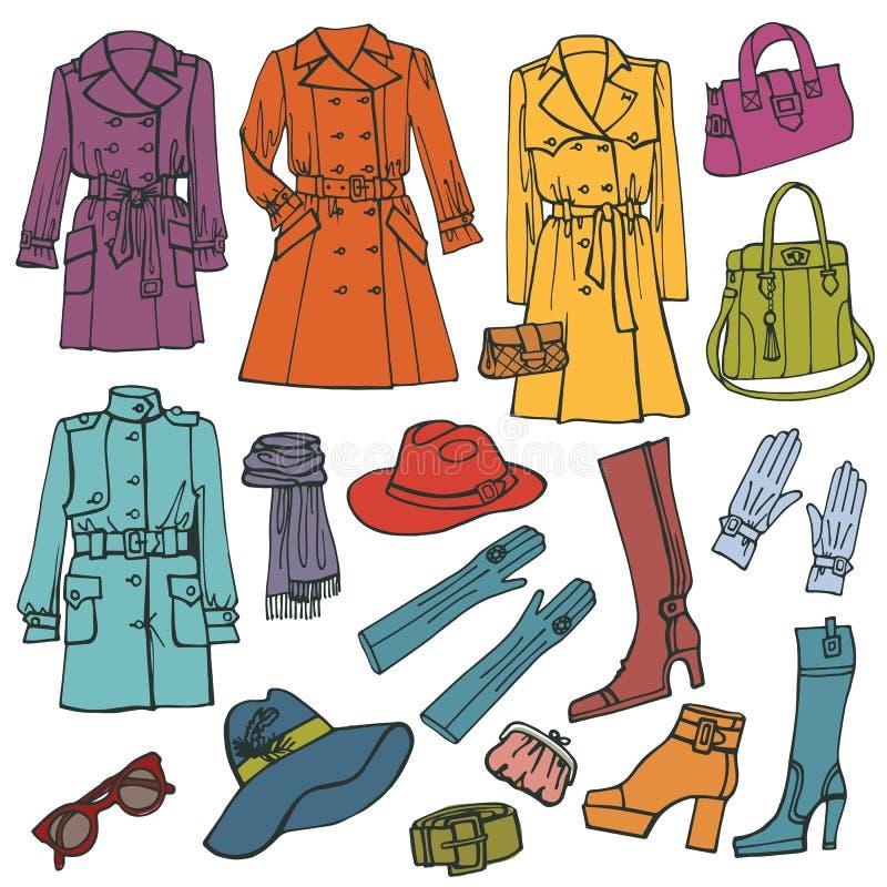 kläder fashion seten Kvinnakläder stock illustrationer