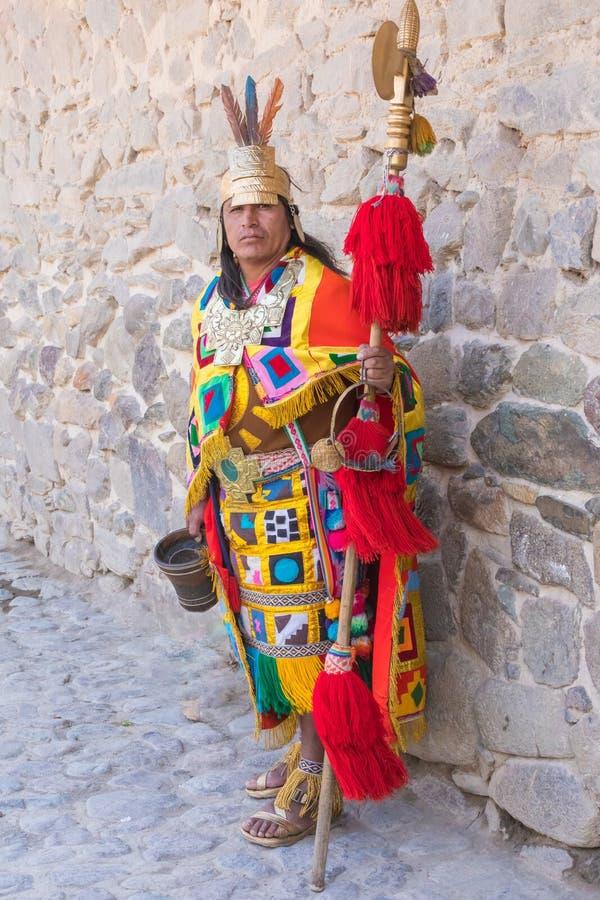 Kläder Peru för iklädd Inca för man historisk arkivfoton